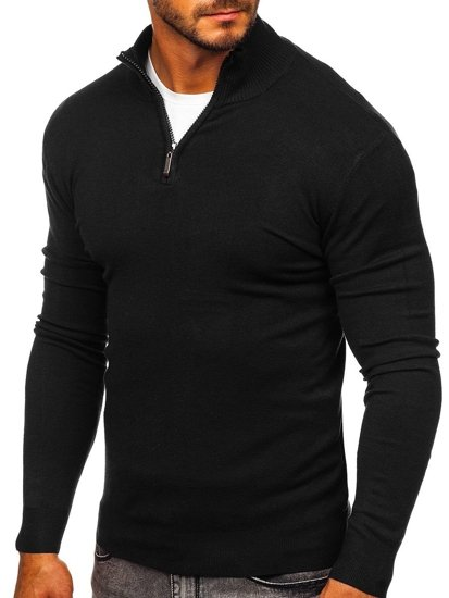 Czarny ze stójką sweter męski Denley YY08