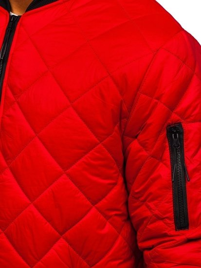 Czerwona przejściowa kurtka męska pikowana  bomberka Denley MY-01
