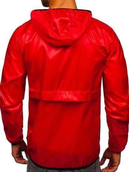 Czerwona przejściowa kurtka męska sportowa anorak z kapturem BOLF 5061