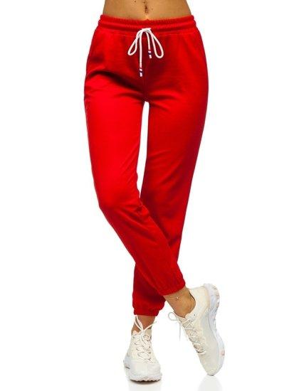 Czerwone spodnie dresowe damskie Denley YW01020