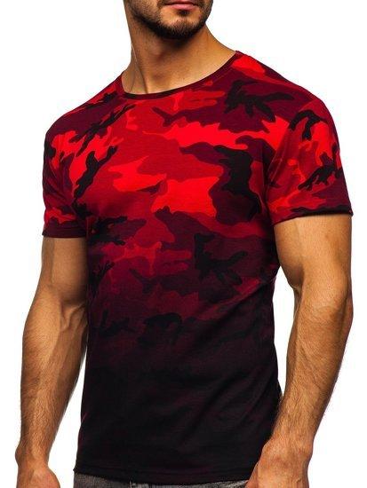 Czerwony t-shirt męski z nadrukiem moro Denley S808