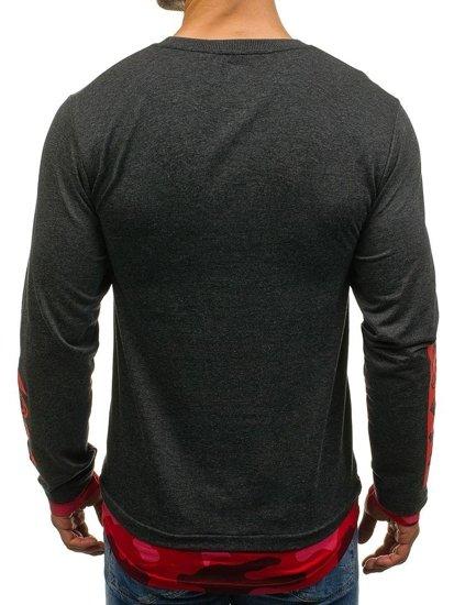 Długa bluza męska bez kaptura z nadrukiem grafitowa Denley 0905