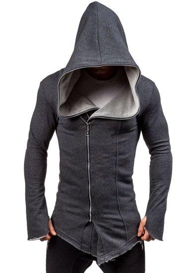 Długa bluza męska z kapturem antracytowa Denley 2036-1