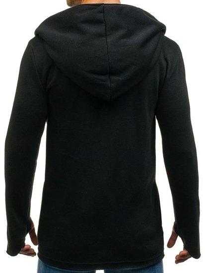 Długa bluza męska z kapturem czarna Denley 2040