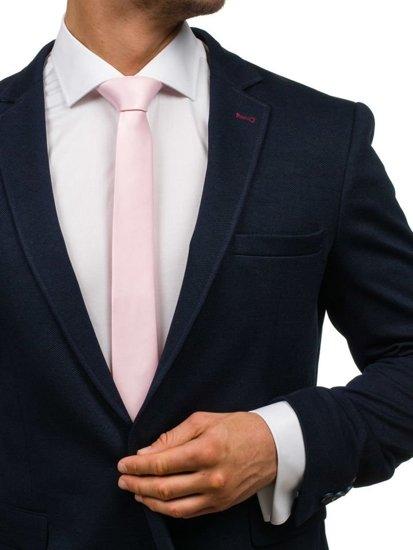 Elegancki krawat męski różowy Denley K001