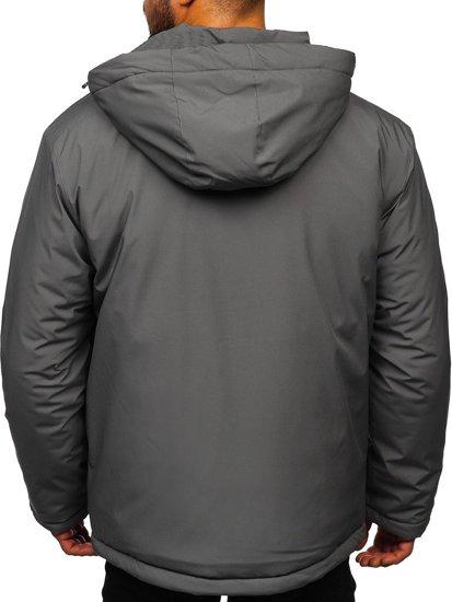 Grafitowa narciarska kurtka męska zimowa sportowa Denley HH011