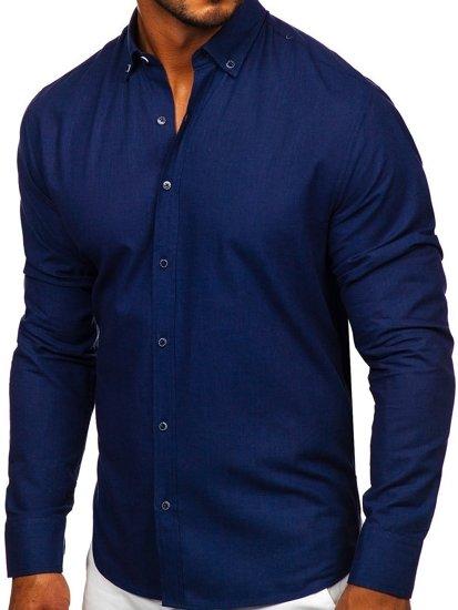 Granatowa bawełniana koszula męska z długim rękawem Bolf 20701