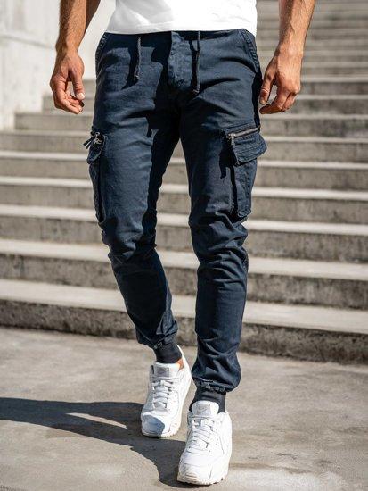 Granatowe spodnie joggery bojówki męskie Denley 8976