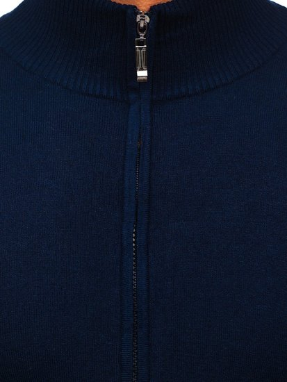 Granatowy rozpinany sweter męski Denley YY07