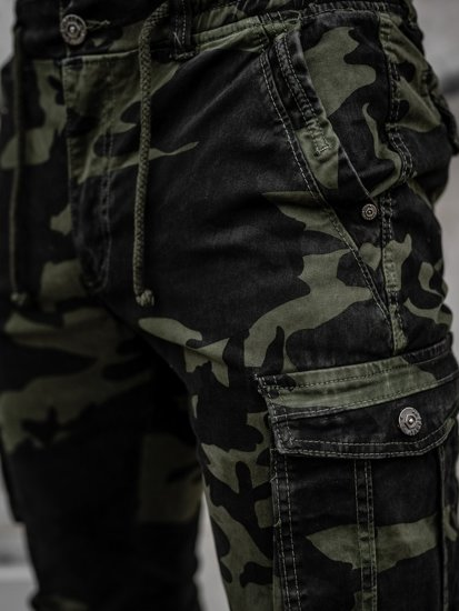 Jasnozielone spodnie joggery bojówki męskie moro Denley CT6019