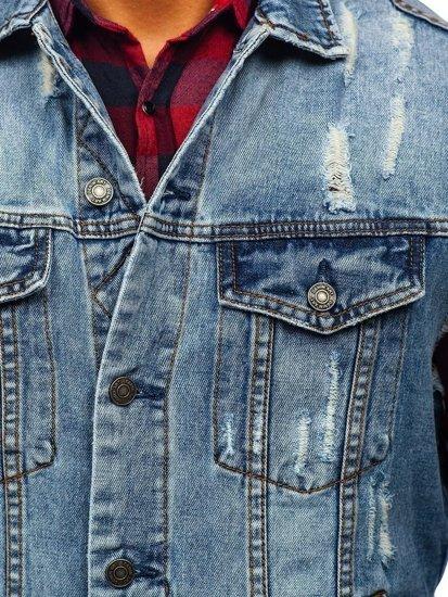 Kamizelka męska jeansowa niebieska Denley AK551