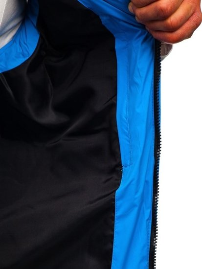 Kamizelka męska pikowana z kapturem niebieska Denley A5502