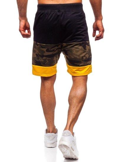 Khaki dresowe krótkie spodenki męskie Denley KK300155