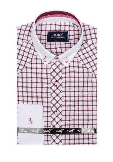 Koszula męska elegancka w kratę z długim rękawem bordowa Bolf 6959