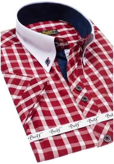 Koszula męska elegancka w kratę z krótkim rękawem bordowa Bolf 5531