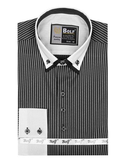 Koszula męska elegancka w paski z długim rękawem czarna Bolf 0909-A