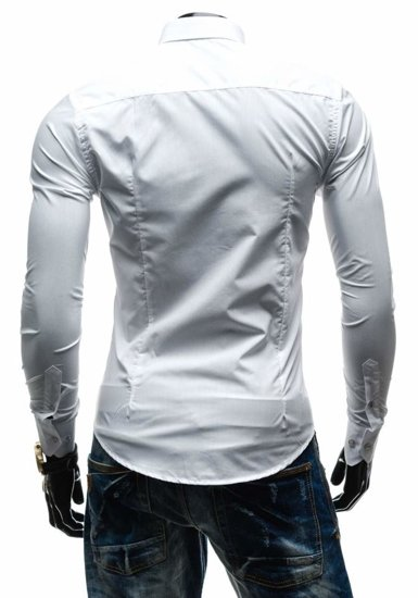 Koszula męska elegancka z długim rękawem biała Bolf 1703-1