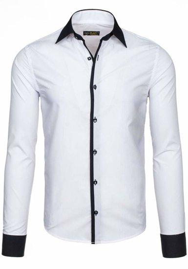 Koszula męska elegancka z długim rękawem biała Bolf 2782