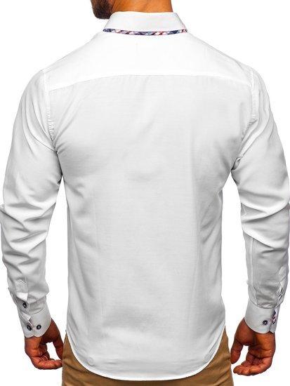 Koszula męska elegancka z długim rękawem biała Bolf 4704