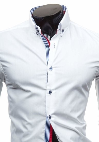 Koszula męska elegancka z długim rękawem biała Bolf 5806
