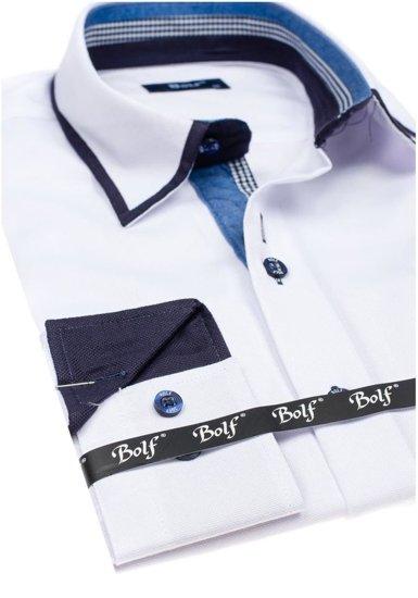 Koszula męska elegancka z długim rękawem biała Bolf 6902