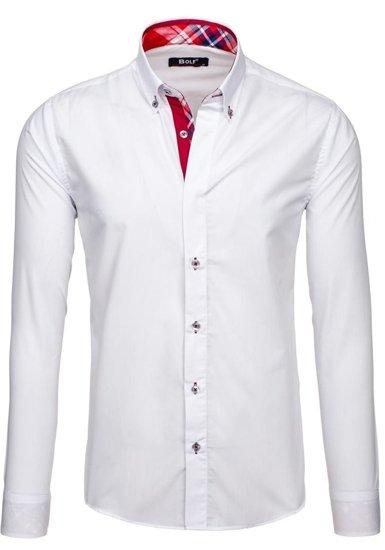 Koszula męska elegancka z długim rękawem biała Bolf 6930