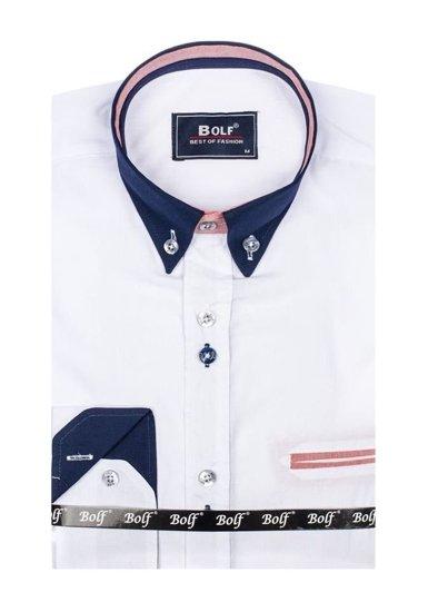 Koszula męska elegancka z długim rękawem biała Bolf 6945