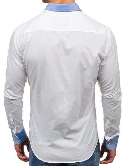 Koszula męska elegancka z długim rękawem biała Bolf 6962