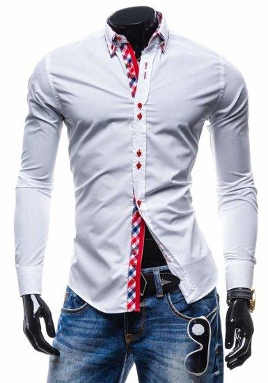 Koszula męska elegancka z długim rękawem biała Denley 0735