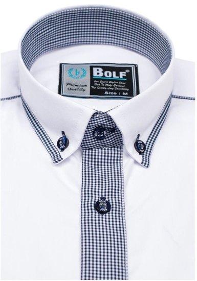 Koszula męska elegancka z długim rękawem biało-granatowa Bolf 5800