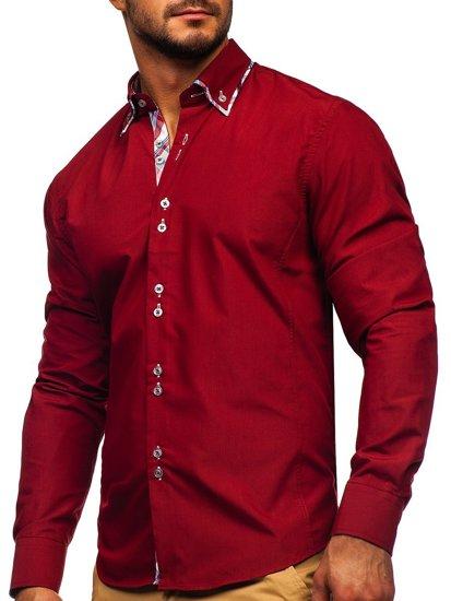Koszula męska elegancka z długim rękawem bordowa Bolf 4704
