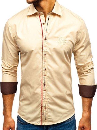 Koszula męska elegancka z długim rękawem camelowa Bolf 1769