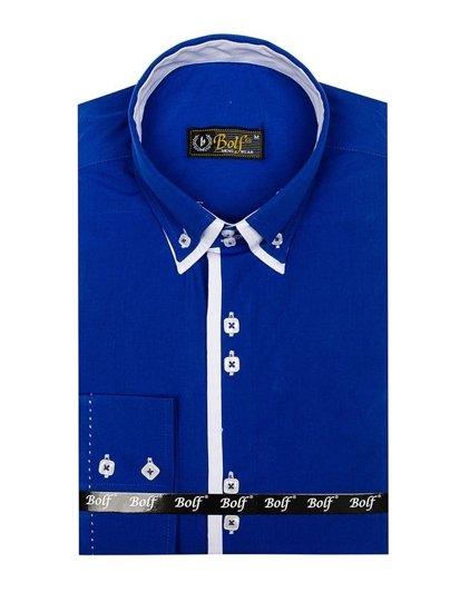 Koszula męska elegancka z długim rękawem chabrowa Bolf 1721-A