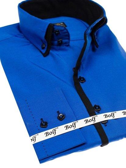 Koszula męska elegancka z długim rękawem chabrowo-czarna Bolf 1721