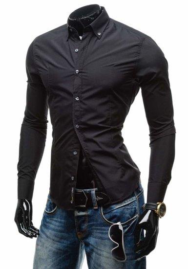 Koszula męska elegancka z długim rękawem czarna Bolf 1703-1