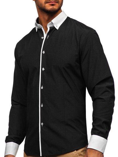 Koszula męska elegancka z długim rękawem czarna Bolf 2782