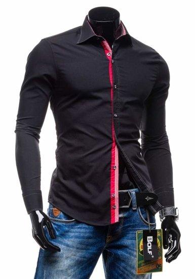 Koszula męska elegancka z długim rękawem czarna Bolf 3760