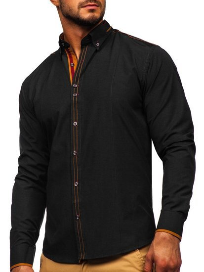 Koszula męska elegancka z długim rękawem czarna Bolf 4707