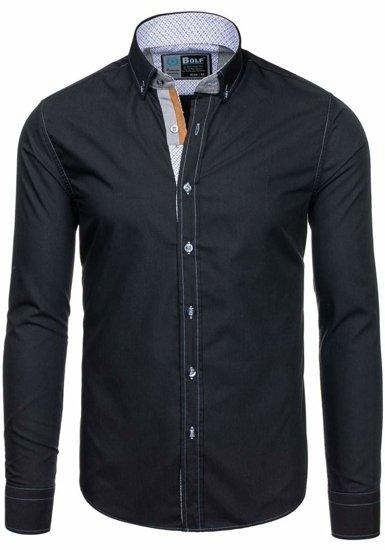 Koszula męska elegancka z długim rękawem czarna Bolf 5777