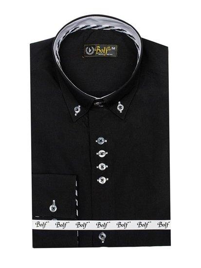Koszula męska elegancka z długim rękawem czarna Bolf 5796