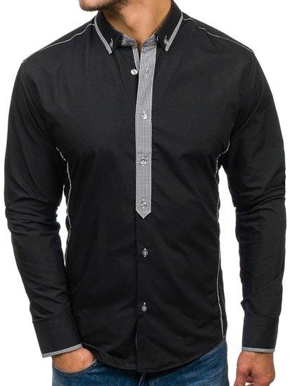 Koszula męska elegancka z długim rękawem czarna Bolf 5800