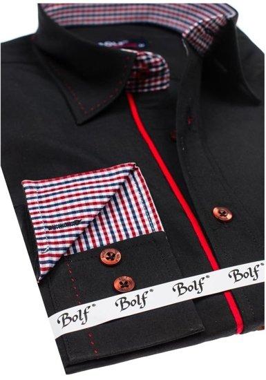 Koszula męska elegancka z długim rękawem czarna Bolf 6932