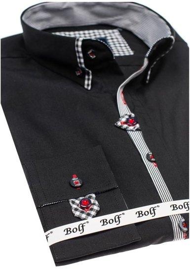Koszula męska elegancka z długim rękawem czarna Bolf 6949
