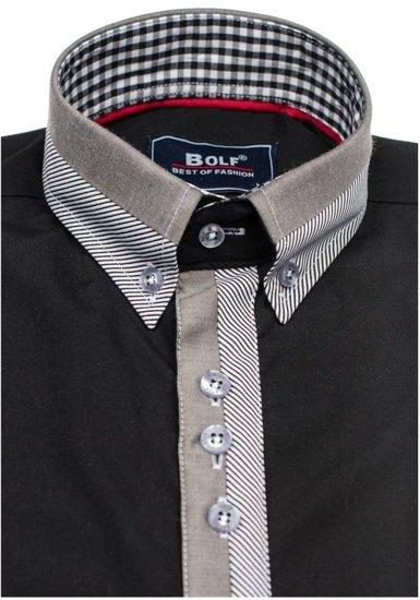 Koszula męska elegancka z długim rękawem czarna Bolf 6950