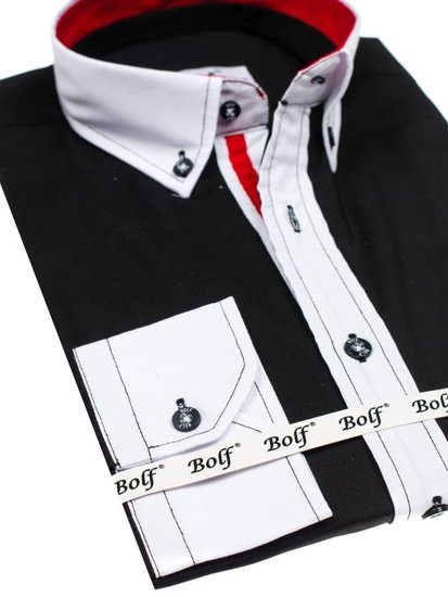 Koszula męska elegancka z długim rękawem czarna Bolf 7701