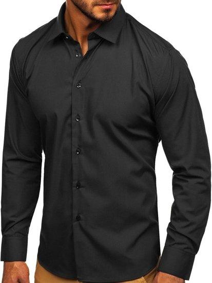 Koszula męska elegancka z długim rękawem czarna Denley 0001