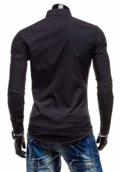 Koszula męska elegancka z długim rękawem czarna Denley 4769