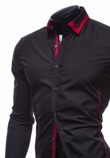 Koszula męska elegancka z długim rękawem czarno-czerwona Bolf 4720