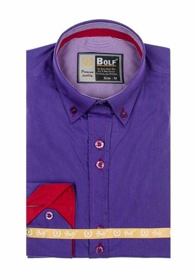 Koszula męska elegancka z długim rękawem fioletowa Bolf 5819