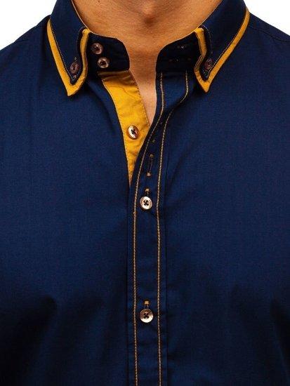 Koszula męska elegancka z długim rękawem granatowa Bolf 3703
